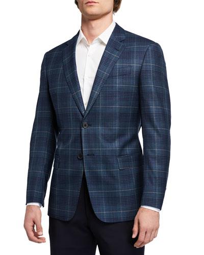 Men's G Line Super 130s Wool Windowpane Sport Jacket