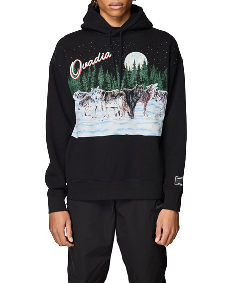 Ovadia Men's Full Moon Wolf Oversized Hoodie Sweatshirt