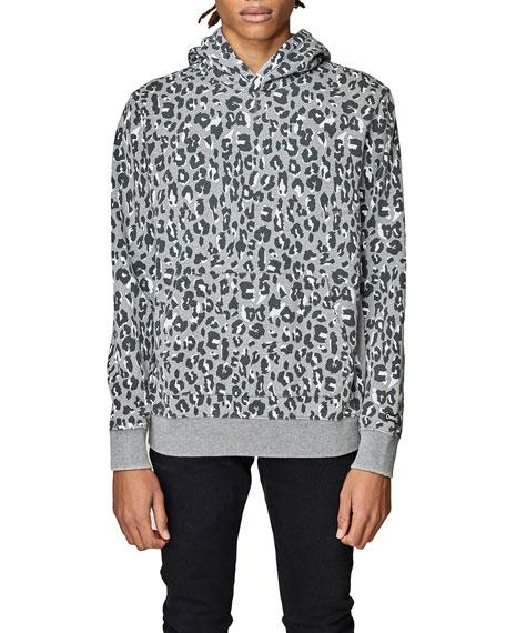 Ovadia Men's Snow Wash Leopard Hoodie Sweatshirt