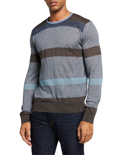 Men's Striped Plain-Knit Sweater