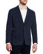 Giorgio Armani Men's Striped Cupro Seersucker Sport Jacket