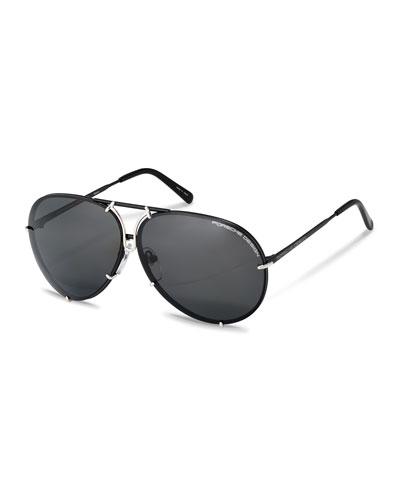 Men's Titanium Interchangeable-Lens Aviator Sunglasses