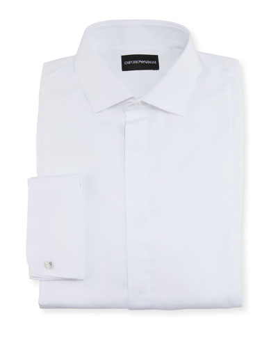 Men's Solid Hidden-Button Tuxedo Shirt