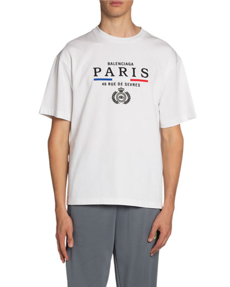 Balenciaga Men's Paris Flag Crewneck T-Shirt