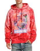 Heron Preston Men's Bleach-Wash Heron Graphic Hoodie