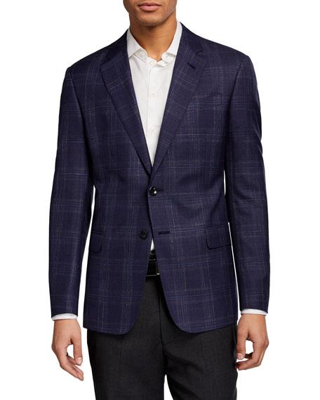 Giorgio Armani Men's Plaid Wool Two-Button Jacket
