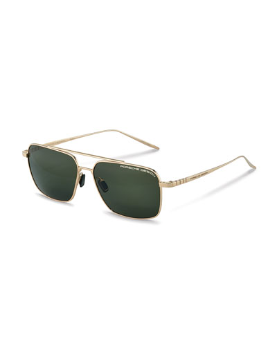 Men's Performance Titanium Square Polarized Sunglasses