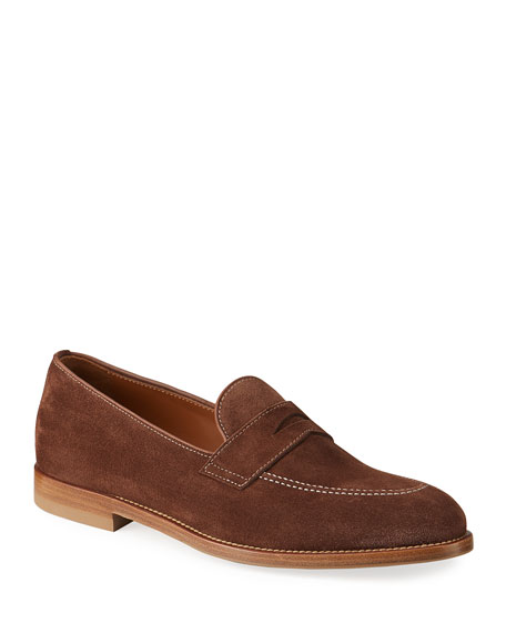 Brunello Cucinelli Men's Suede Penny Loafers w/ Contrast Stitching