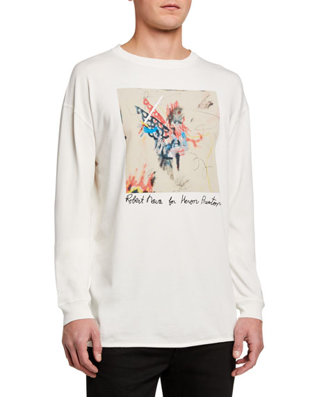 Heron Preston Men's Graffiti Sketch Print Long-Sleeve T-Shirt