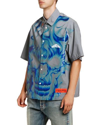 Men's Skull Reflex Graphic Short-Sleeve Sport Shirt