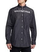 Balenciaga Men's Pinstripe Poplin Logo Sport Shirt