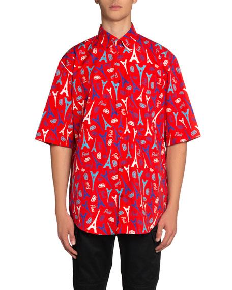Balenciaga Men's Paris Love Printed Short-Sleeve Sport Shirt