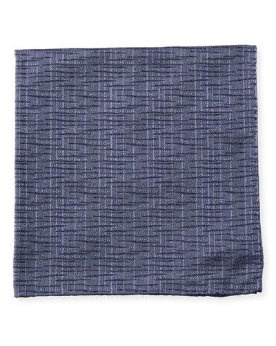 Men's Crinkled Patterned Silk Pocket Square