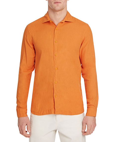 Orlebar Brown Men's Giles Smart-Cut Solid Linen Sport Shirt