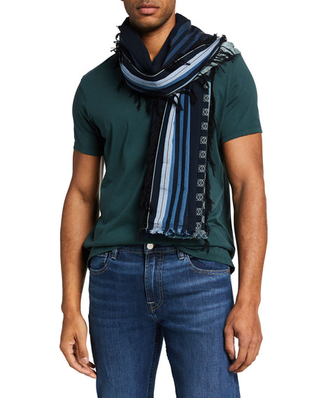 Loewe Men's Striped Anagram Scarf