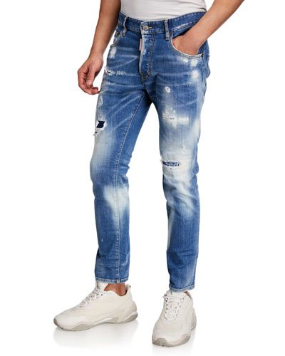 Men's Bleached Rip/Repair Skater Jeans