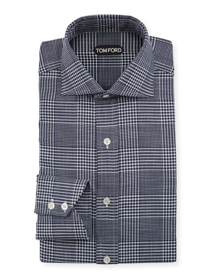 TOM FORD Men's Prince of Wales Dress Shirt