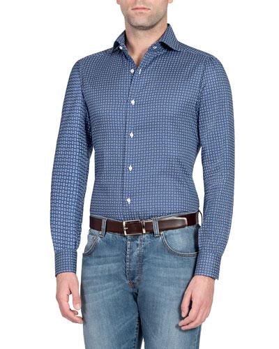 Men's Geo-Print Cotton Sport Shirt