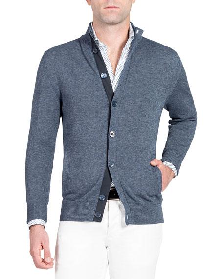 Isaia Men's Denim-Effect Stand-Collar Cardigan