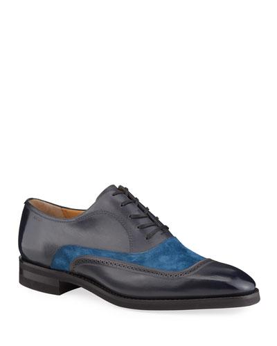 Men's Contrast-Suede Leather Dress Shoes