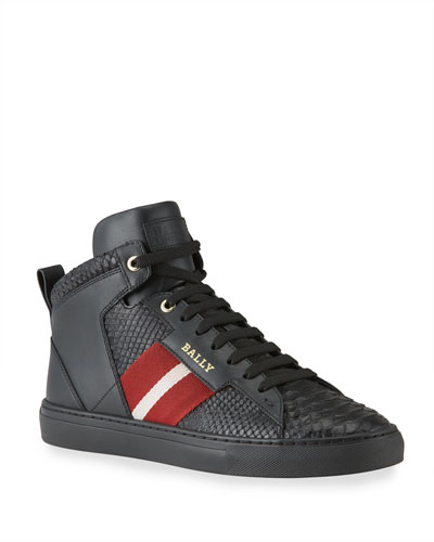 Men's Hedern Trainspotting Croc-Embossed High-Top Sneakers