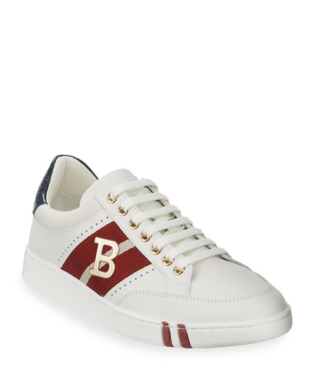 Bally Men's Trainspotting Leather Croc-Trim Sneakers