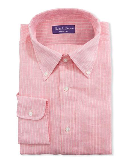 Ralph Lauren Purple Label Men's Striped Linen Dress Shirt