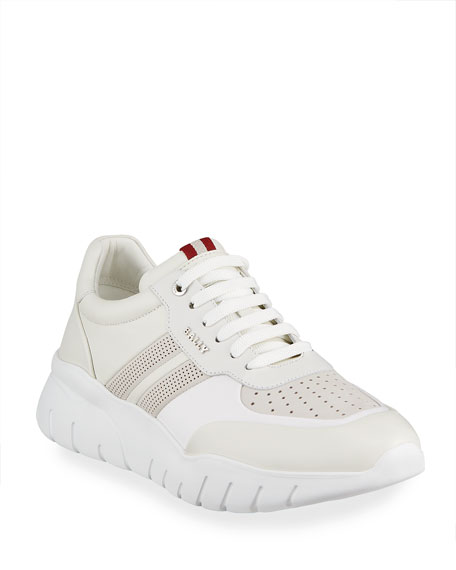 Bally Men's Bison Perforated Lamb Leather Sneakers
