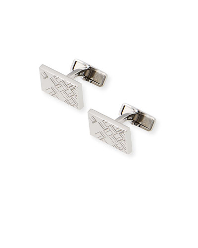 Men's Abstract Longtail Silver Rectangle Cufflinks