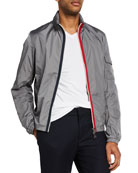 Moncler Men's Keralle Nylon Jacket w/ Signature Stripes