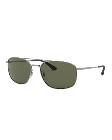Ray-Ban Men's Square Double-Bridge Polarized Sunglasses