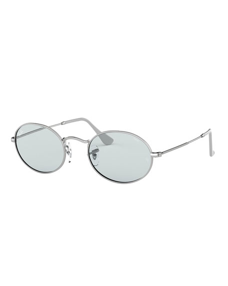 Ray-Ban Men's Oval Metal Polarized Sunglasses