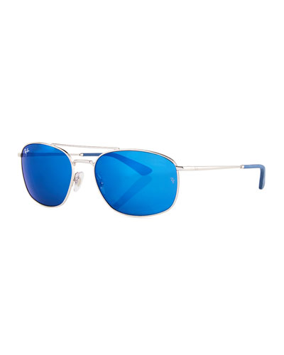 Men's Mirrored Square Double-Bridge Metal Sunglasses