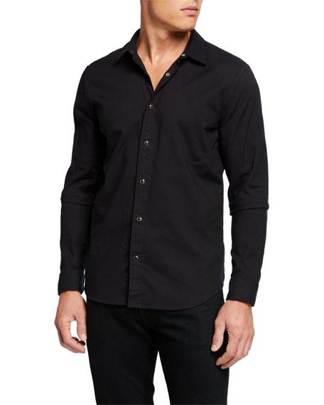 John Varvatos Star USA Men's Solid Snap-Front Oxford Sport Shirt