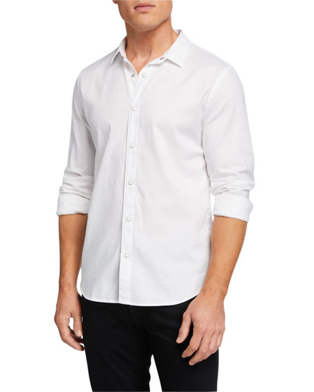 John Varvatos Star USA Men's Solid Snap-Front Oxford Sport Shirt