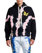 Palm Angels Men's Butterfly Tie-Dye Hoodie Sweatshirt