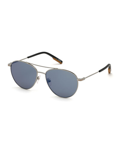 Men's Metal Double-Bridge Aviator Sunglasses