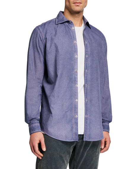Massimo Alba Men's Overdyed Micro-Check Sport Shirt