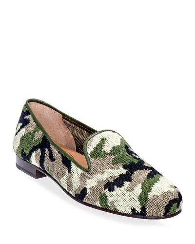 Men's Camo Needlepoint Slippers