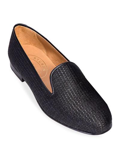 Men's Woven Raffia Slippers