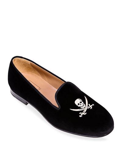 Men's Skull Velvet Slippers