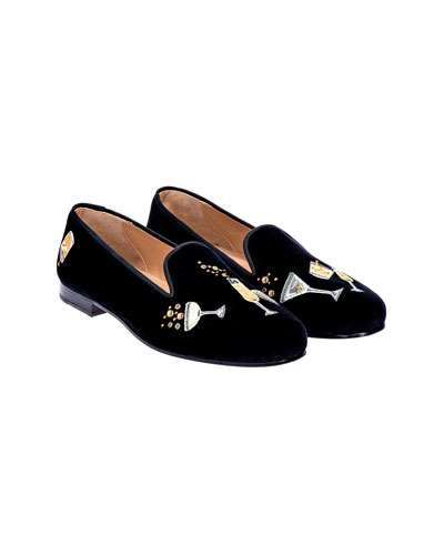 Men's Celebrate Embroidered Velvet Smoking Loafers