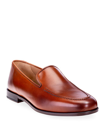 Men's Venetian Apron-Toe Leather Loafers