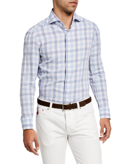 Isaia Men's Large Gingham Check Sport Shirt