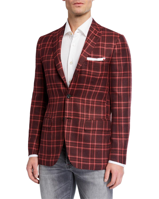 Men's Plaid Three-Button Cashmere Sport Jacket