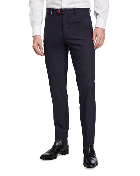 Kiton Men's Stretch-Cashmere Pants w/ Metal Button
