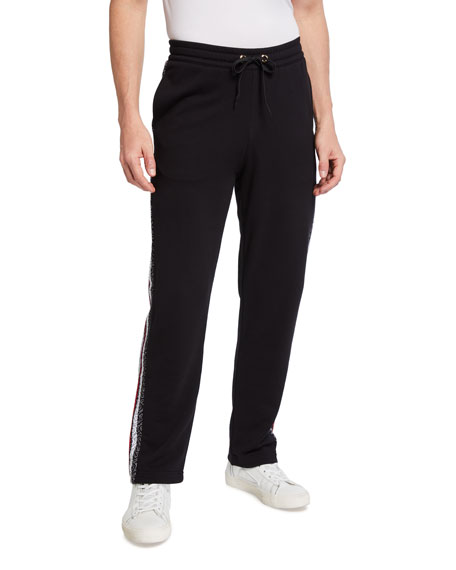 Burberry Men's Monogram Stripe-Panel Sweatpants