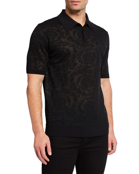 Versace Men's Baroque Tonal Jacquard Knit Polo Shirt
