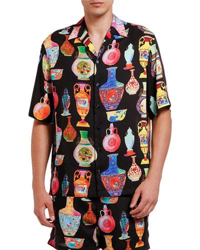 Men's Vase Print Short-Sleeve Sport Shirt