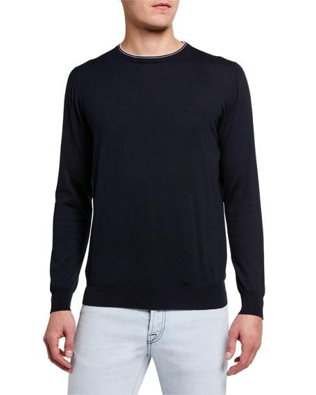 Kiton Men's Contrast-Trim Crewneck Sweater